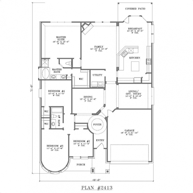Incredible One Story 4 Bedroom House Plans Dream Home Pinterest Story 4 Story House Plans Image