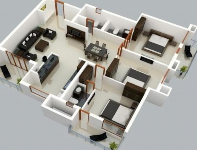 Marvelous 25 More 3 Bedroom 3d Floor Plans 3d Bedrooms And 3d ...