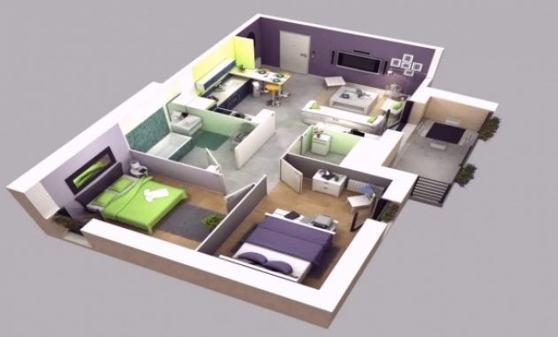 Best House Plan Design 3d 4 Room Youtube 4 Room House Plan Pictures 3d Photos