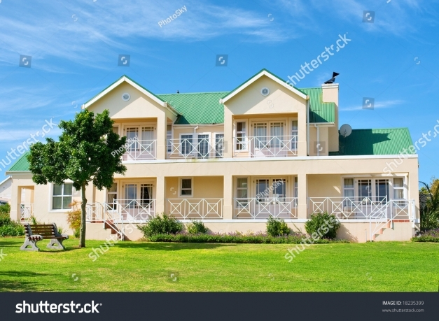 Stylish Big House Front View Grass Bench Stock Photo 100 Legal Protection Big House In South Africa Photo