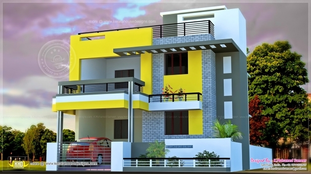 Stylish Modern 3 Floors Indian House Plan With 3d Yellow House Drawing And 3d Indian House Picture