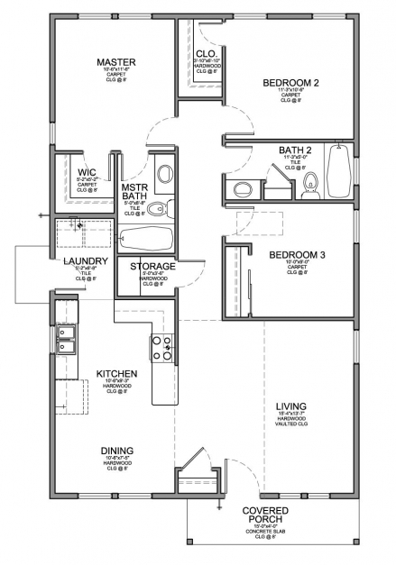 Incredible Floor Plan For A Small House 1150 Sf With 3 Bedrooms And 2 Baths 3 Bedroom House Plans Pic