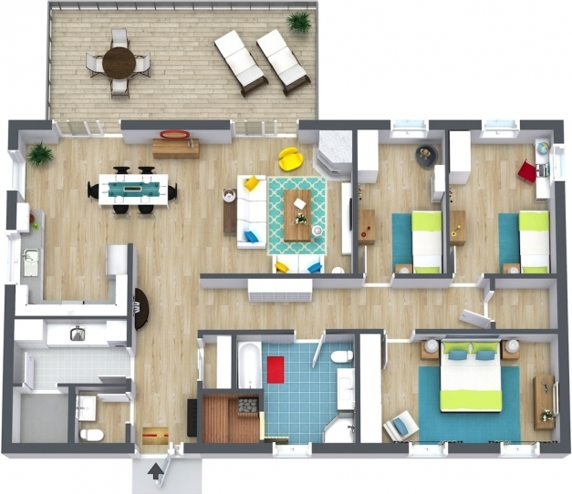 Outstanding 3 Bedroom Floor Plans Roomsketcher 3 Bedroom House Plans Images