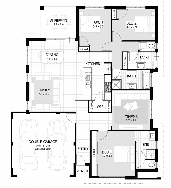 Outstanding House Plans And Designs For 3 Bedrooms Bedroom Floor With Regard To 3 Bedroom House Plans Picture