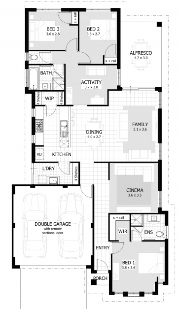 Stylish 3 Bedroom House Plans Home Designs Celebration Homes 3 Bedroom House Plans Pictures