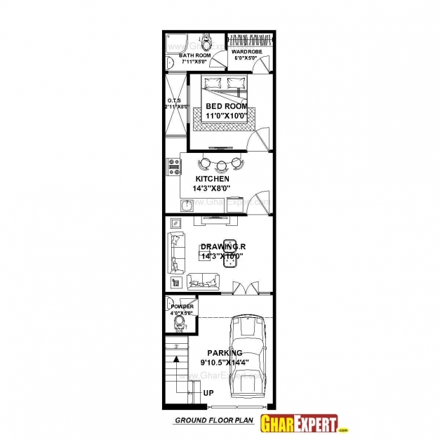 Stunning House Plan For 15 Feet 50 Feet Plot Plot Size 83 Square Yards 15*50 House Plan Image
