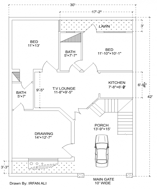 Incredible 6 Marla House Plan30 42 Modern House Plan House Plan In 2018 2d Plan Of Modern Houses Pic