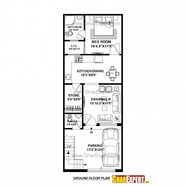 Inspiring House Plan For 17 Feet 45 Feet Plot Plot Size 85 Square Yards 17*45 Floor Plan Pic