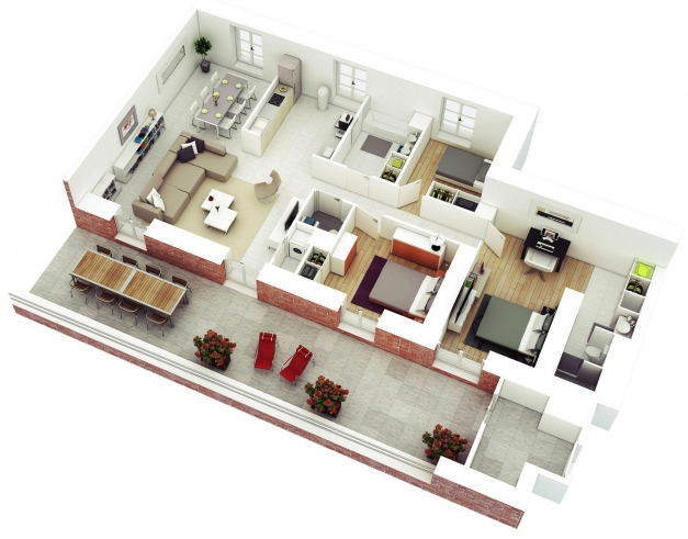 Fascinating 13 More 3 Bedroom 3d Floor Plans Amazing Architecture Magazine 3D 3 Bedroom House Plans Pic