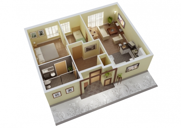 Gorgeous Simple 3d 3 Bedroom House Plans And 3d View House Drawings 3D 3 Bedroom House Plans Image