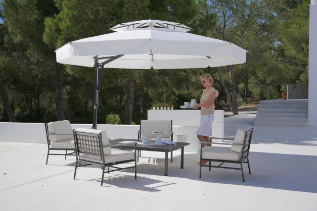 Inspiring Astonishing White Two Tiered Canopy Cantilever Umbrella Design Canopy Design Exteriors Pic