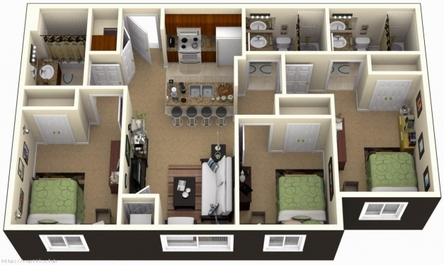 Marvelous 3 Bedroom House Plans 3d Design With 3 Bathroom Artdreamshome 3D 3 Bedroom House Plans Photo