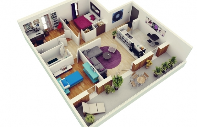 Outstanding Home Design Small House Plan Three Bedrooms 3d 3 Bedroom Plans 3D 3 Bedroom House Plans Pics