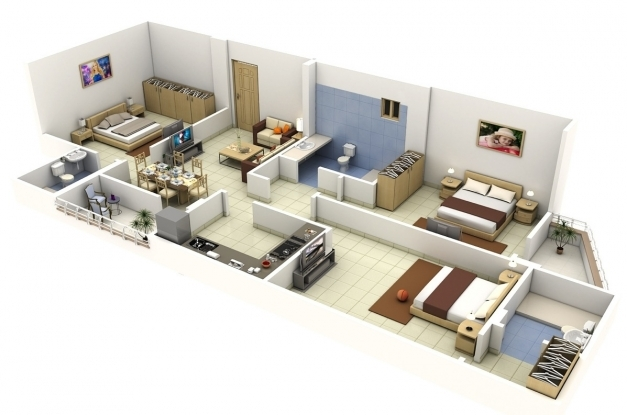 Remarkable Insight Of 3 Bedroom 3d Floor Plans In Your House Or Apartment Design 3D 3 Bedroom House Plans Images
