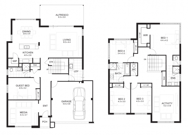 Stylish 4 Bedroom House Designs Perth Double Storey Apg Homes 2 Story Modern Double Storey House Plans Photo