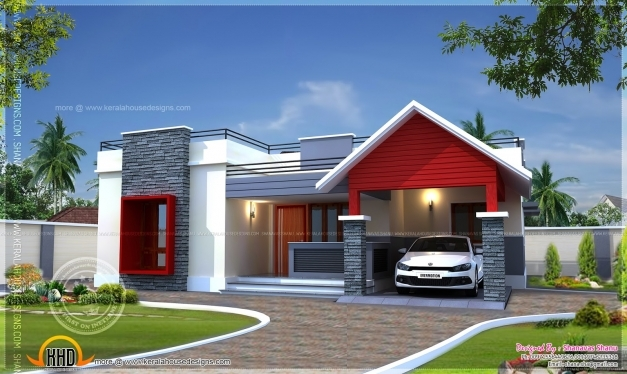 Amazing Single Floor Home Plan In 1400 Square Feet Kerala Home Design 1500sqft Single Storey Indian Contemporary House Plan Elevation And Section Pictures