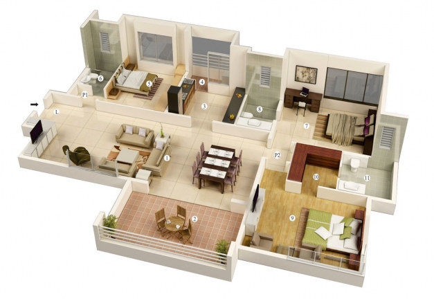 Awesome 13 More 3 Bedroom 3d Floor Plans Amazing Architecture Magazine Simple House Plan With 4 Bedrooms 3d Picture