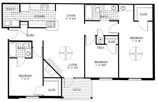 Awesome 3 Bedroom Bungalow Floor Plans Ahscgs Simple 3 Bedroom House Plans With Photos Pic