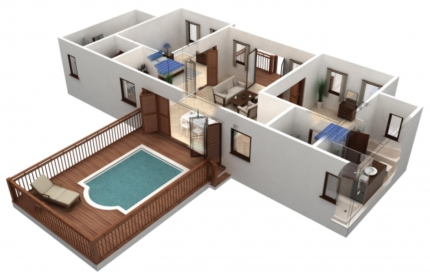 Awesome Modren Simple House Plan With Bedrooms D Size Of Apartment Page Simple Home Plans 2 Bedrooms 3d Photos