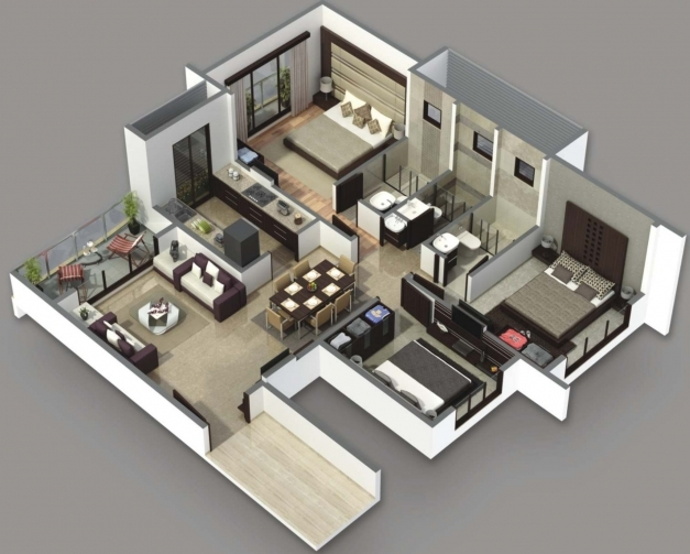 Best 3 Bedroom House Plans 3d Design Ideas Luxihome Simple House Plan With 4 Bedrooms 3d Images