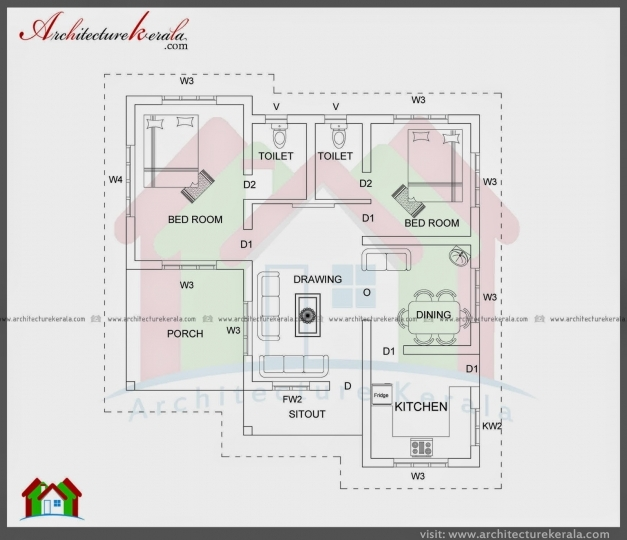 Delightful 1000 Sqft Single Storied House Plan And Elevation Architecture North Facing Kerala House Plans Picture