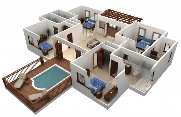 Fantastic Plan Of House With Two Bedroom 3d Ideas Simple House Plan With 4 Simple House Plan With 4 Bedrooms 3d Pics
