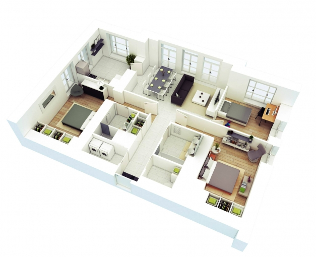 Fascinating Free 3 Bedrooms House Design And Lay Out Simple Home Plans 2 Bedrooms 3d Image