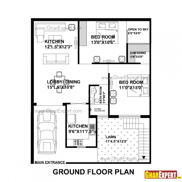 Fascinating House Plan For 33 Feet 40 Feet Plot Plot Size 147 Square Yards 15 60 Plot Design Picture