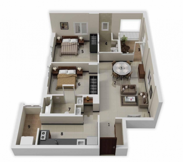 Gorgeous 3d Home Design For Apartment And Small House Nice Room Design Simple Home Plans 2 Bedrooms 3d Images