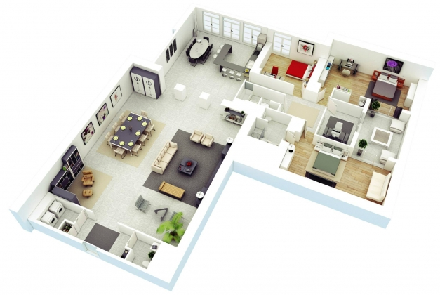 Incredible 13 More 3 Bedroom 3d Floor Plans Amazing Architecture Magazine Simple House Plan With 4 Bedrooms 3d Photos
