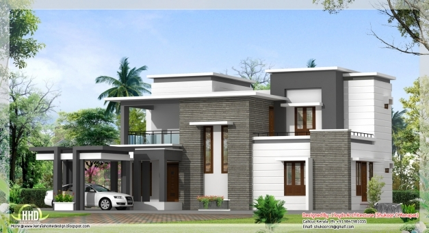 Marvelous 2000 Sq Feet Contemporary Villa Plan And Elevation Kerala Home Images Of Contemporary Houses In Kerala Photo