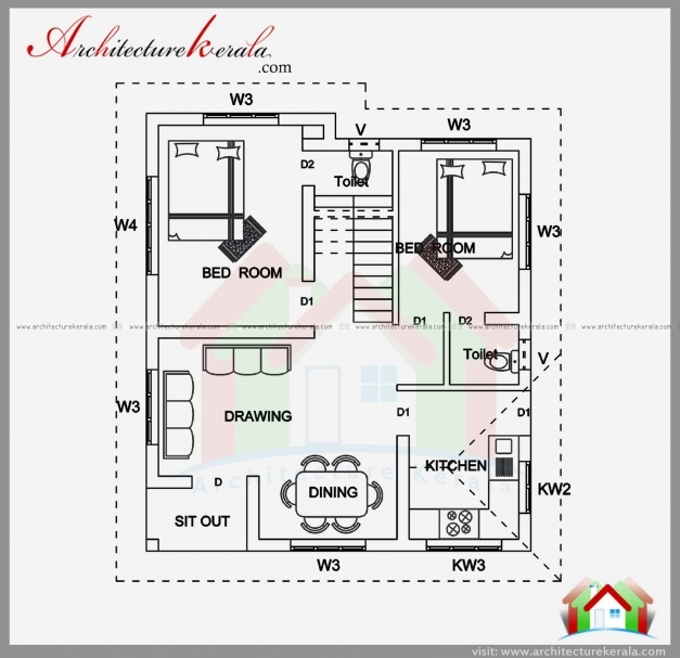 Outstanding 25 More 2 Bedroom 3d Floor Plans Bhk House 3050 3 Bedr Luxihome North Facing Kerala House Plans Image