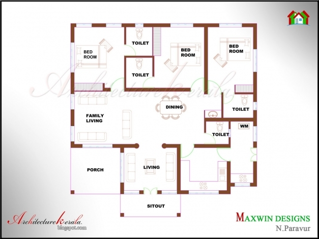 Remarkable Architecture Kerala 3 Bhk Single Floor Kerala House Plan And North Facing Kerala House Plans Picture