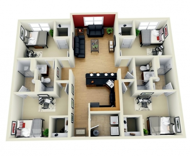 Remarkable Download 4 Bedroom House Design 3d Adhome Simple House Plan With 4 Bedrooms 3d Pic