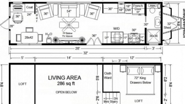 Remarkable Tiny House Floor Plans 32 Long Tiny Home On Wheels Design Youtube Small Home Designs Floor Plans Image