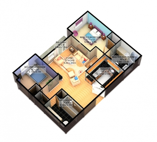 Stunning 3d Simple House Plans Designs 3 Bedroom House Floor Plan 3d 3d Simple House Plan With 3 Bedrooms Image