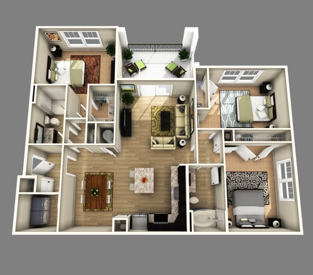 Stunning Apartment Creative Apartment 3d Floor Plans Images Home Design Simple House Plan With 4 Bedrooms 3d Pictures