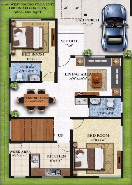 Stunning Duplex House Plans 30x50 South Facing Homes Zone 15*50 House Design Pic