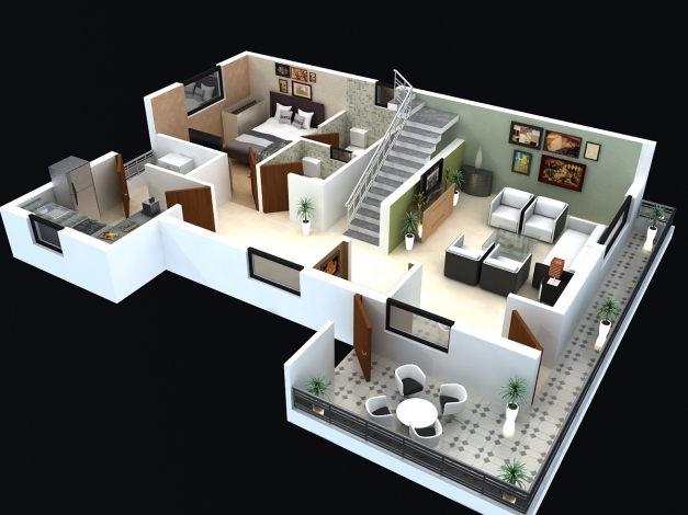 Stunning Interesting 50 Simple House Floor Plans 3d Design Inspiration Of Simple Home Plans 2 Bedrooms 3d Photo