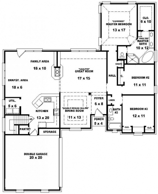 Stylish 2 Bedroom Bath Open Floor Plans Collection Also Pic Luxihome Stunning Three Bedroom House Plan Pic