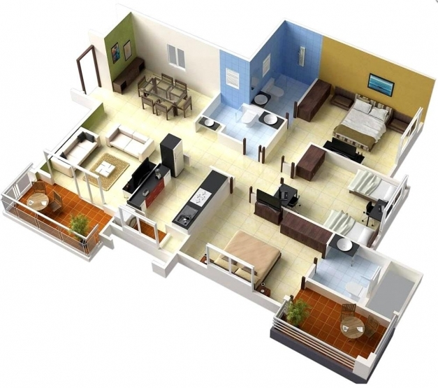 Stylish Simple House Plan With 3 Bedrooms 3d Pictures Simple House Plan With 3 Bedrooms 3d Images