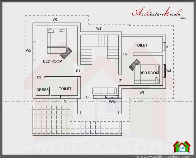 Wonderful 4 Bedroom House Plan In 1400 Square Feet Architecture Kerala Kerala House Plans 1500 Sq Ft Photos