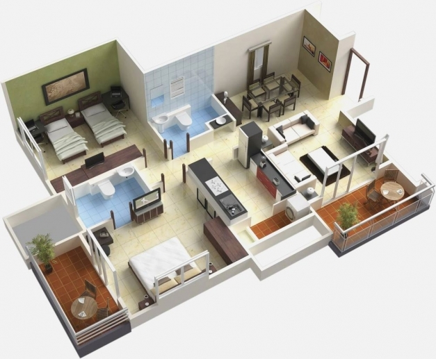 Wonderful 4 Bedroom Simple House Home Design Ideas Simple House Plan With 4 Bedrooms 3d Pic