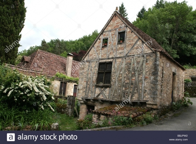 Awesome Stone And Half Timbered Medieval House In The Village Of Saint Half Stone House Photo