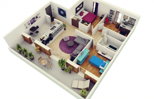 Fantastic Free 3 Bedrooms House Design And Lay Out 3d Images Of 2 Bedroom House In The Phil Images