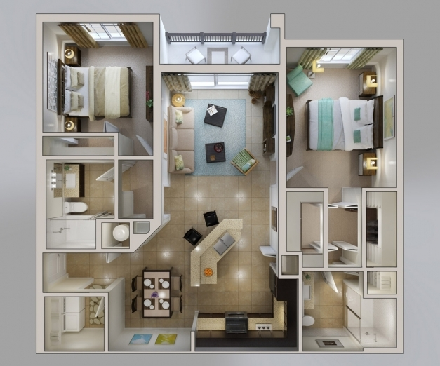 Fascinating 50 3d Floor Plans Lay Out Designs For 2 Bedroom House Or Apartment 3d Images Of 2 Bedroom House In The Phil Photos