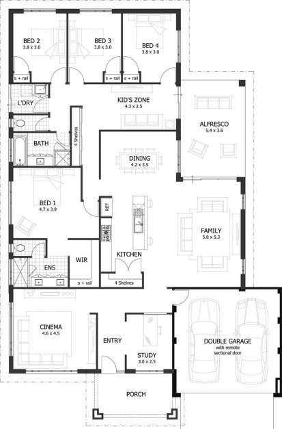 Gorgeous 4 Bedroom House Plans Home Designs Celebration Homes X 4 Bedroom Plans For A House Photo
