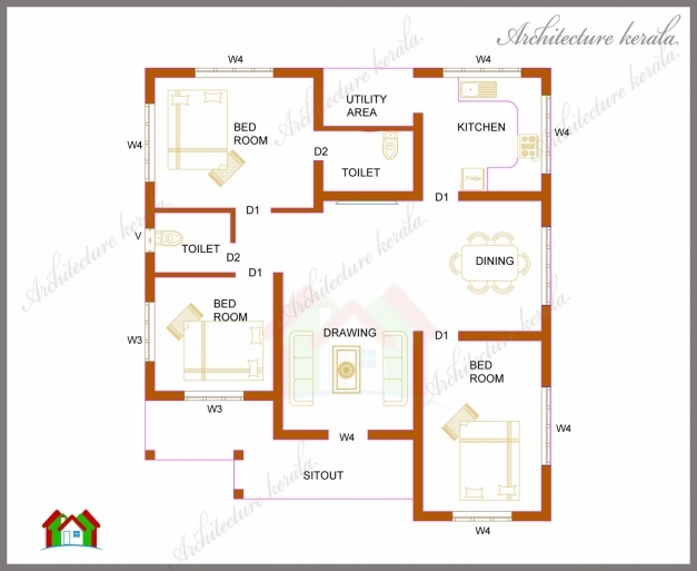Gorgeous Three Bedrooms In 1200 Square Feet Kerala House Plan 3 Bedroom House Plans In Kerala Single Floor Pictures