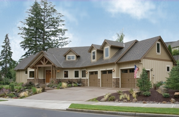 Inspiring Architecture Cream Wooden Ranch Home Designs With Pointed Roof Half Stone House Picture