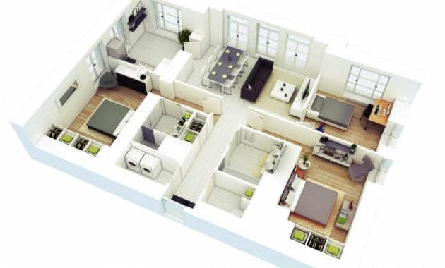 Inspiring Free 3 Bedrooms House Design And Lay Out Simple Three Bedroom House Plans 3d Pics